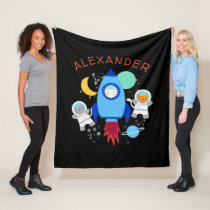 Outer Space Kittens Cat Astronaut Kids Rocket Ship Fleece Blanket
