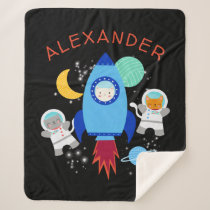 Outer Space Kittens Cat Astronaut Kids Rocket Ship Sherpa Blanket