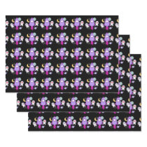 Outer Space Kittens Cat Astronaut Pink Birthday Wrapping Paper Sheets