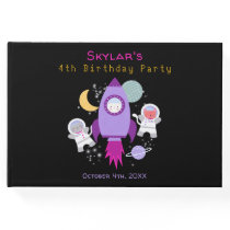 Outer Space Kittens Cat Astronaut Purple Birthday Guest Book