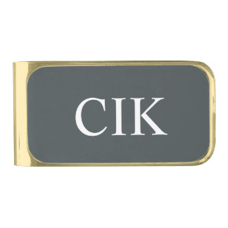 Outer Space Monogram Gold Finish Money Clip