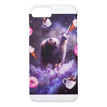 Outer Space Panda Riding Llama Unicorn - Donut iPhone 8/7 Case