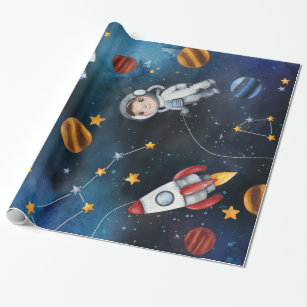 Birthday All occasion Oone sheet 20X30 inches Vintage Spaceship Sci Fi Gift Wrap Vintage Space Travel Wrapping Paper Shadow Box