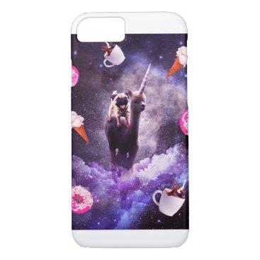 Outer Space Pug Riding Alpaca Unicorn - Donut iPhone 8/7 Case
