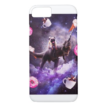 Outer Space Pug Riding Dinosaur Unicorn - Donut iPhone 8/7 Case