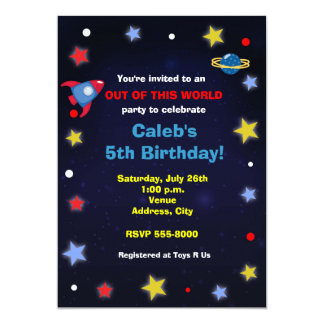 Outer Space Rocket Kids Birthday Party Invitation