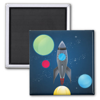 Outer Space Rocket Ship 2 Inch Square Magnet
