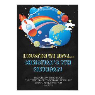 Outer Space Rocket Ship Birthday Invitations