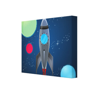 Outer Space Rocket Ship Gallery Wrapped Canvas