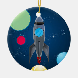 Outer Space Rocket Ship Ceramic Ornament