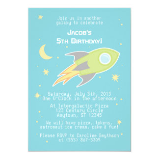 Outer Space Rocket Ship Cyborg Blue Invitations