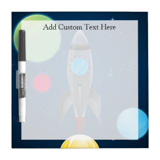 Outer Space Rocket Ship Dry Erase Board