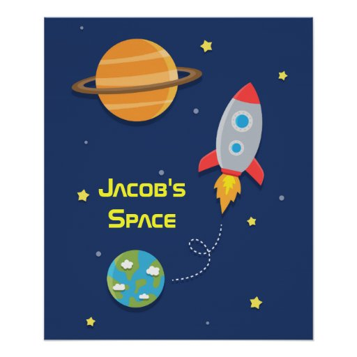 Outer space rocket ship for kids room poster zazzle for Outer space designs norwich