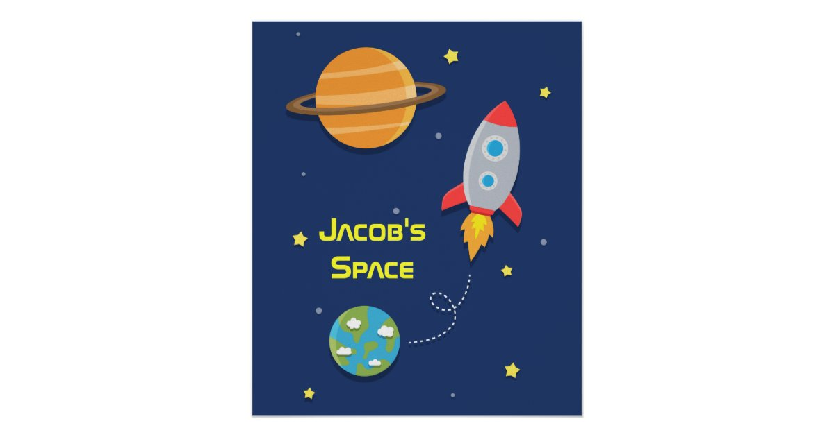 Outer Space, Rocket Ship, For Kids Room Poster