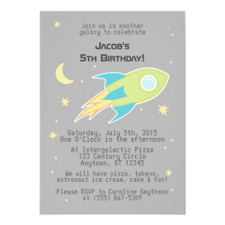 Outer Space Rocket Ship Galaxy Grey Invitations