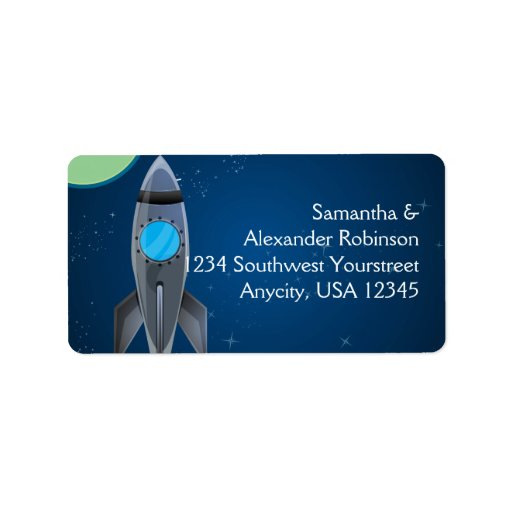 Outer Space Rocket Ship Custom Address Labels