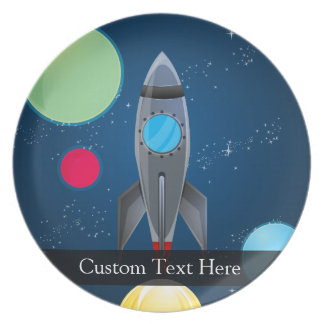 Outer Space Rocket Ship Melamine Plate