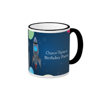 Outer Space Rocket Ship Coffee Mug