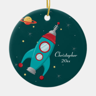 Outer space rocket ship photo personalize ornament