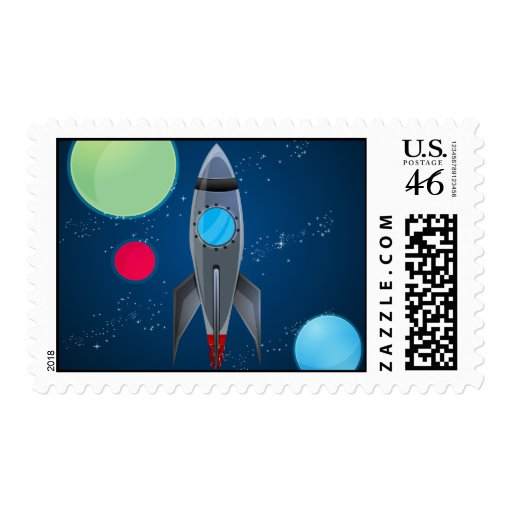 Outer Space Rocket Ship Stamp