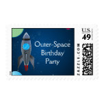 Outer Space Rocket Ship Postage Stamp