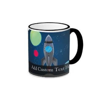 Outer Space Rocket Ship Ringer Coffee Mug