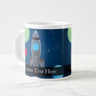 Outer Space Rocket Ship 20 Oz Large Ceramic Coffee Mug