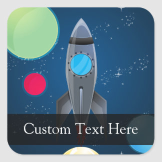 Outer Space Rocket Ship Square Sticker