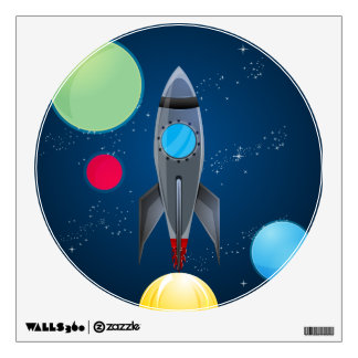 Outer Space Rocket Ship Wall Decal