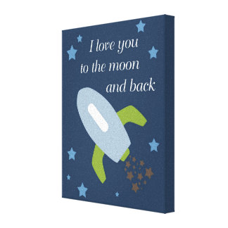Outer Space Rockets Love You to the Moon Canvas Print