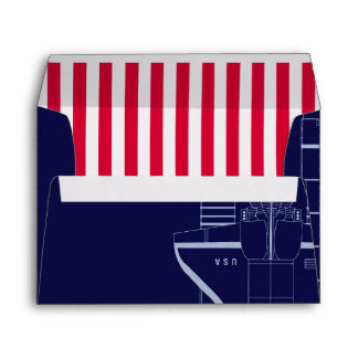 Outer Space Shuttle Blueprint | Red Striped Liner Envelope