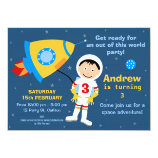 Outer Space Spaceman Birthday Party Invitation