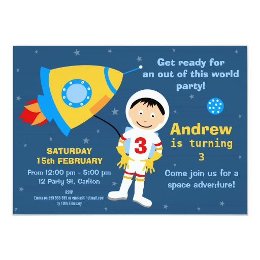 Outer Space Spaceman Birthday Party Invitation   Zazzle
