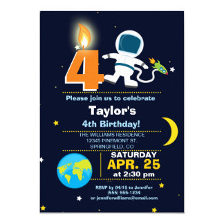Outer Space Theme Birthday Party Card