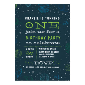 Outer Space Theme Boy's Birthday Party Invitation