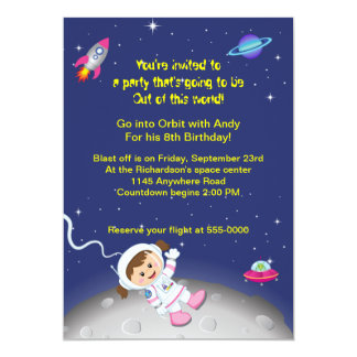 Outer Space Theme Girls Birthday 5x7 Paper Invitation Card