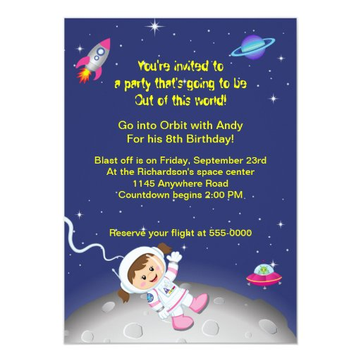 Outer space theme girls birthday personalized invites zazzle for Space themed stationery