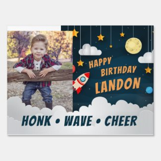 Outer Space Theme Kids Photo Birthday Drive By Sign
