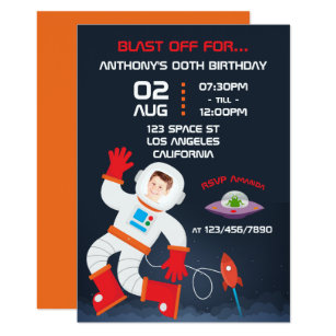 outer space themed birthday party add photo invite