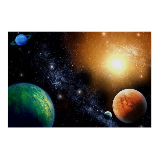 Delightful Outer Space Wall Mural Poster Boys Bedroom