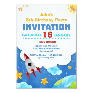 Outer Space Watercolor Invitation
