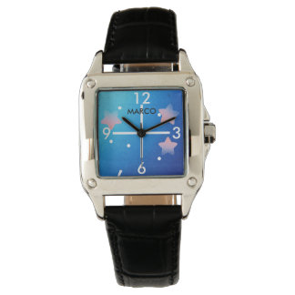 Outer Space Women Square Black Leather Strap Watch
