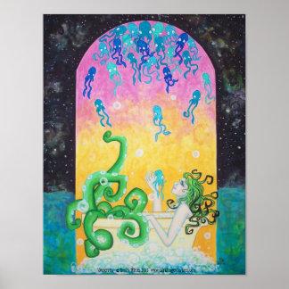 Outersea Octopus Mermaid galaxy ocean Fantasy art Poster