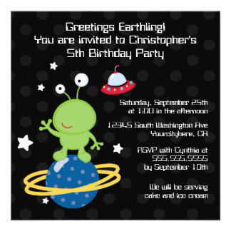 Outerspace alien boy s birthday party invitation