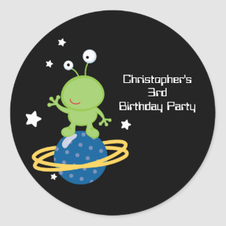 Outerspace alien boy s birthday party stickers