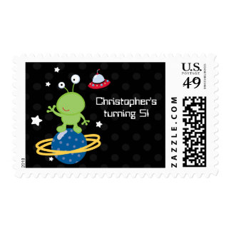 Outerspace alien boy's birthday party stamps
