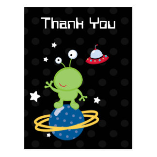 Outerspace alien boy's thank you postcard