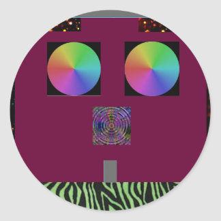 outerspace face round sticker