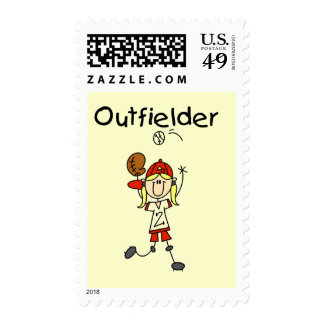 Outfielder-Girl Baseball Tshirts and Gifts Stamps