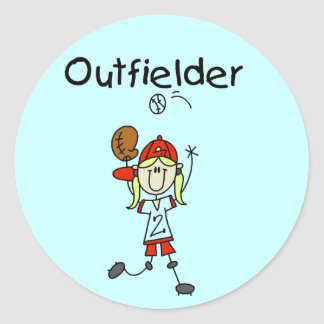 Outfielder-Girl Baseball Tshirts and Gifts Round Stickers